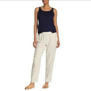 Eileen Fisher bone silk georgette pants. Xxs